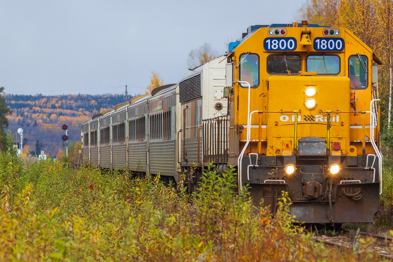 Southbound Northlander approaching Kerr's Road just after crossing the Enelghart River 2020 October 11.