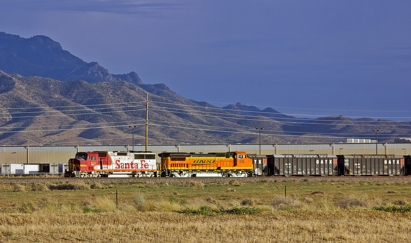 BNSF 104 in Santa Fe classic warbonnet scheme in Kingman, Arizona.