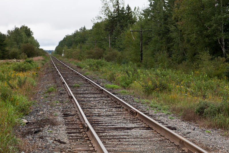 Ontario Northland tracks heading south after crossing Bryan's Road near Englehart