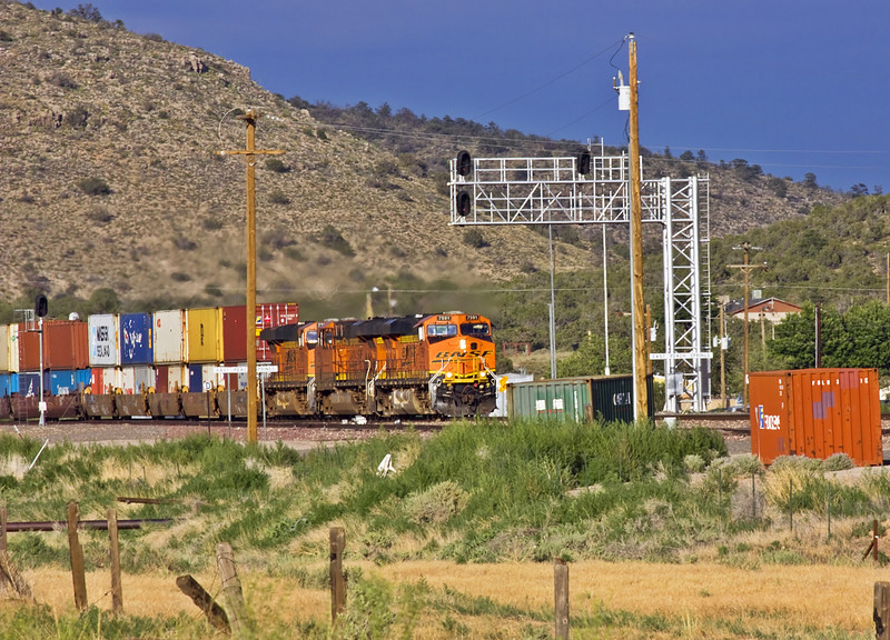 A BNSF double stack container train near Peach Springs Arizona