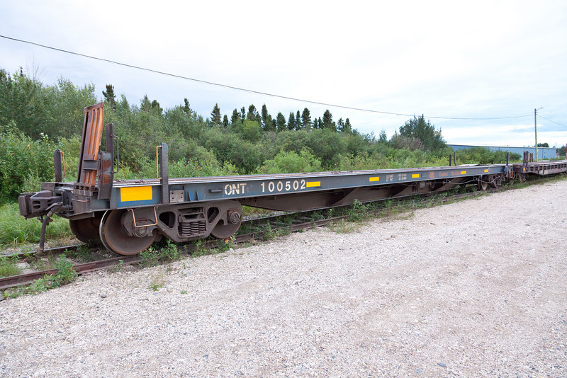 Ontario Northland Railway flatcar 100502 used in Polar Bear Express service to carry vehicles (chain car)