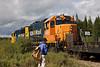 Ontario Northland locomotives GP38-2 1804 and GP40-2 2201 switching freight across Bay Road in Moosonee.