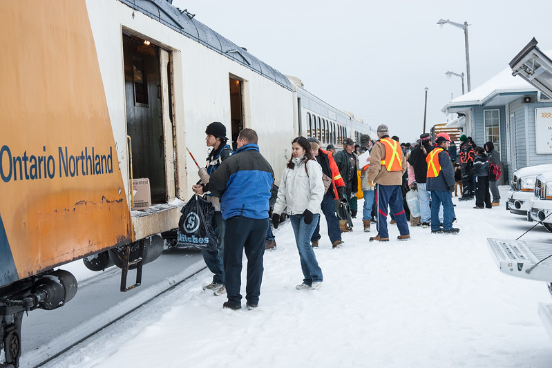 Unloading from baggage car 412 after the mixed train arrives in Moosonee 2007 January 22nd.