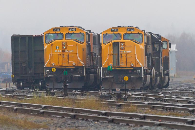 Ontario Northland SD75i locomotives 2105 and 2103 at Englehart.