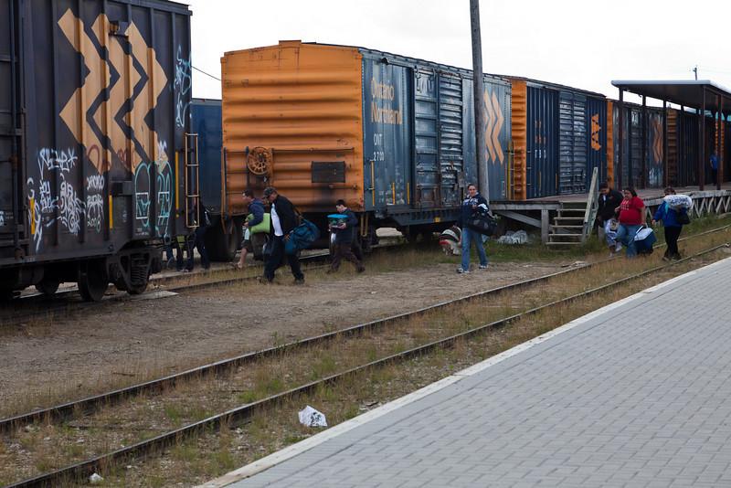 Passengers leaving train station in Moosonee.
