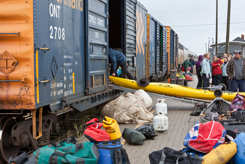 Moosonee station platform showing boxcar being loaded.