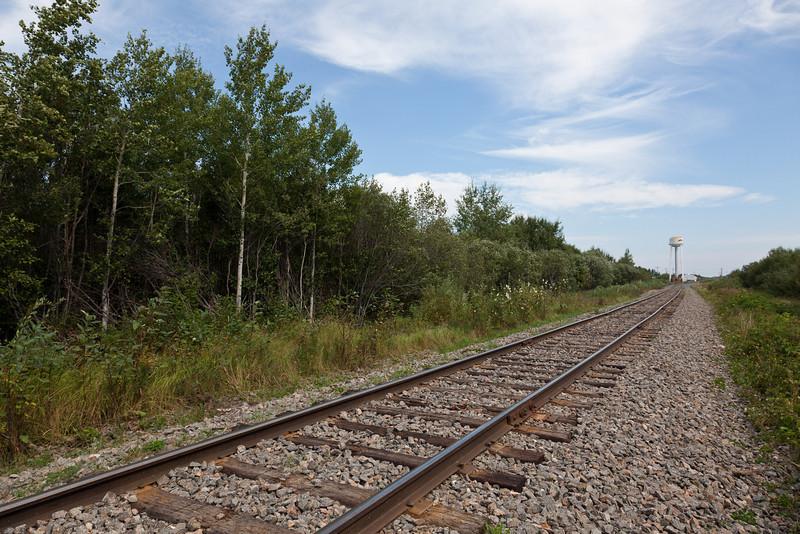 Ontario Northland Railway tracks heading into Moosonee.