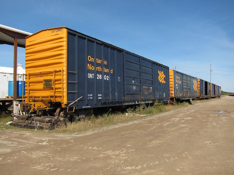 Boxcars at Moosonee freight platform