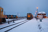 1805 prepares to take the Northlander south. 2200, 1809 1801 at right. Cochrane 2006 December 27th.