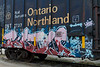 Graffitti on boxcar Ontario Northland 7737