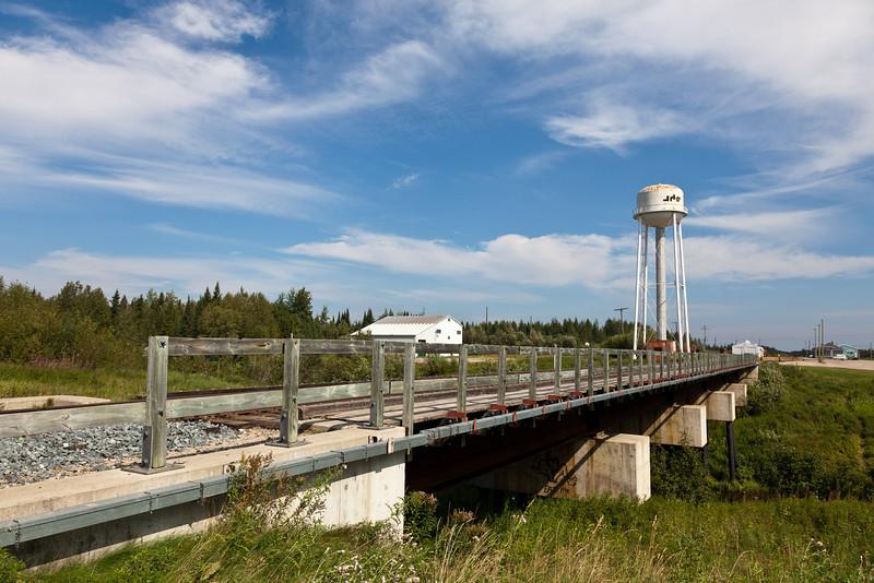 Ontario Northland Railway bridge across Store Creek in Moosonee.