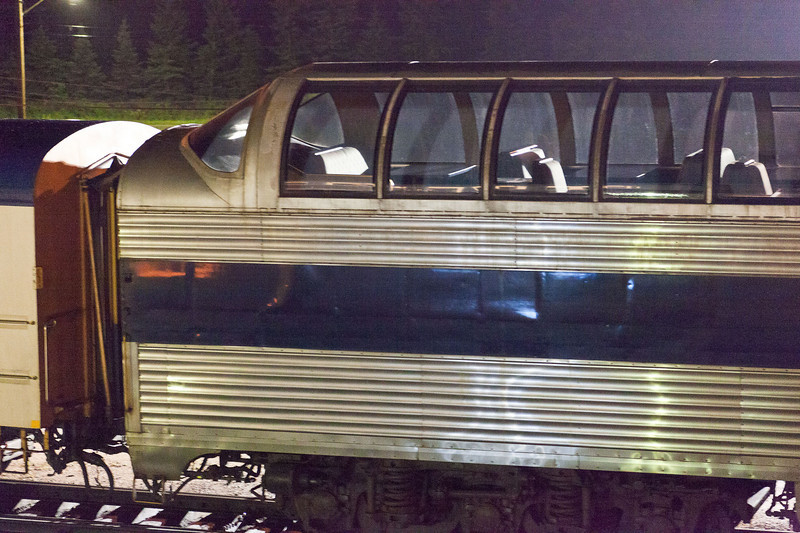 Ontario Northland Railway full length dome car Otter Rapids - night shots - details