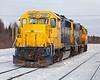 Ontario Northland Railway locomotives GP38-2 1802 and GP40-2 2201 in Moosonee on freight duty 2010 December 3rd.