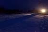 Polar Bear Express in Moosonee on a snowy evening.