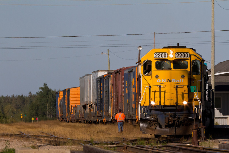 GP40-2 2200 and GP38-2 1805 with freight train at Moosonee station.