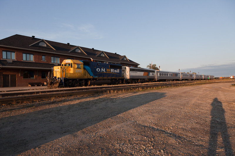 Ontario Northland passenger train the Northlander arriving in Cochrane from Toronto. GP40-2 2202, APU 203, coaches 606, 600,615,609 and snack 700.
