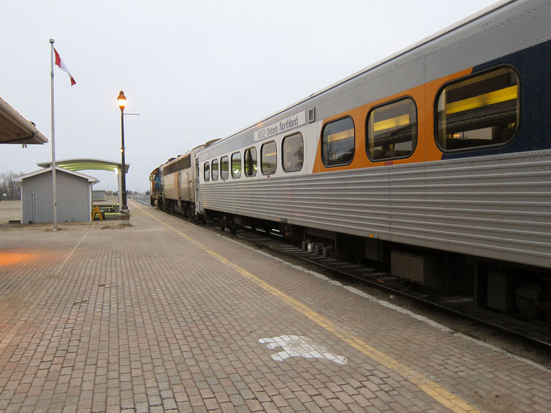 Ontario Northland passenger train the Northlander behind locomotive GP38-2 1808 waits in Cochrane before heading south to Toronto. 2010 November 17th.