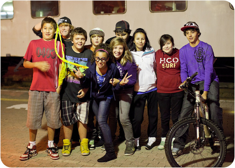 Young people on station platform in Cochrane.