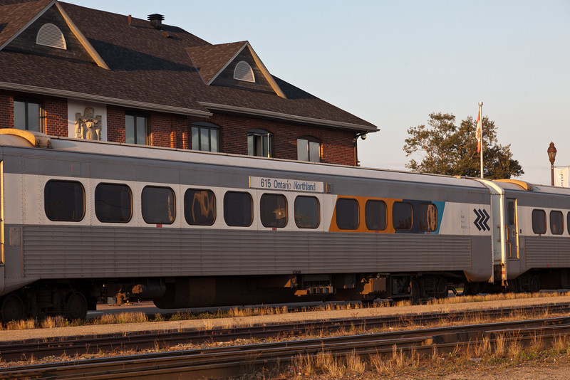 Coach 615 in front of Cochrane station
