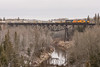 Southbound Northlander crossing Englehart River bridge (does not show tail end of train) , GP38-2 1805 leading followed by 1809.