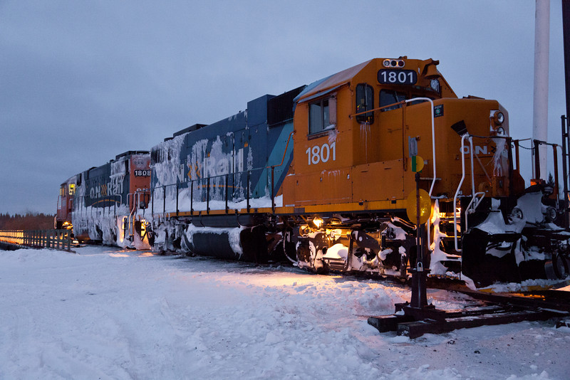 Gp38-2s 1801 and 1808 at the head of the Polar Bear Express in Moosonee 2010 December 6