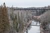 Ontario Northland Railway bridge over the Englehart River. 2006 December 25th.