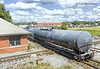 The last tank car of anhydrous ammonia passes over the diamonds at Plant City, Florida