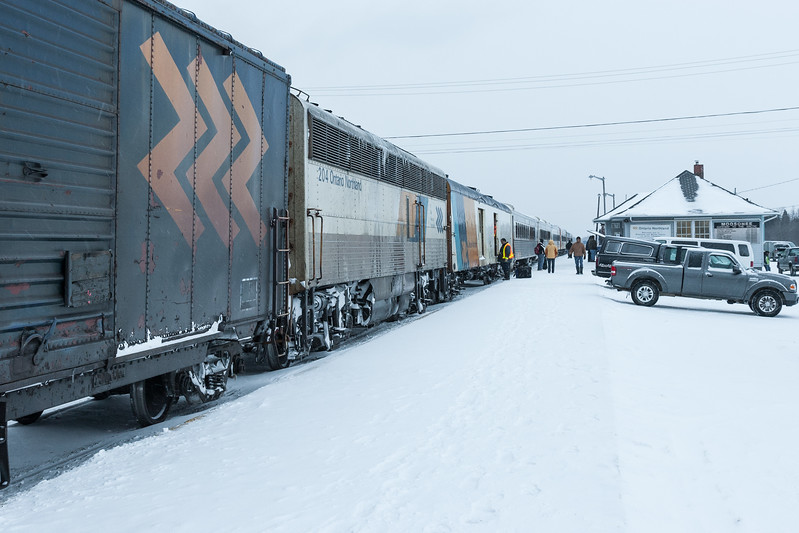 Mixed train (Little Bear) in Moosonee shortly before its morning departure 2007 January 18th. APU 204, baggage 412.