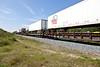 Trailers on flatcars in consist of twice weekly freight train approaching Moosonee.