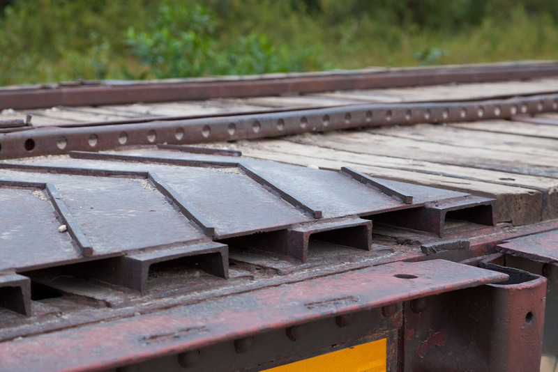 Decking at end of Ontario Northland Railway flatcar 100501 used in Polar Bear Express service to carry vehicles (chain car)