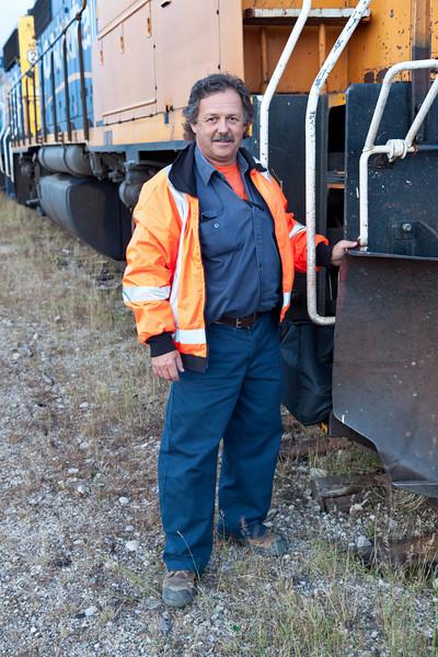 Dan at head of ballast train in Moosonee.
