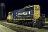 Ontario Northland Railway GP38-2 locomotive 1804 at Moosonee at night.