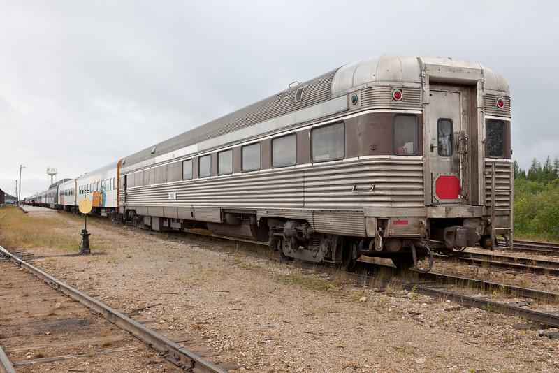 Polar Bear Express at Moosonee, last car is diner 908 Indigo.
