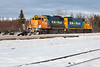 Ontario Northland Railway locomotives GP38-2 1801 and 1808 switching after bringing the Polar Bear Express train to Moosonee.