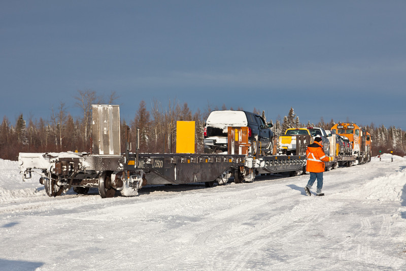 Switching operations after the arrival of the Polar Bear Express in Moosonee 2010 Dec 15