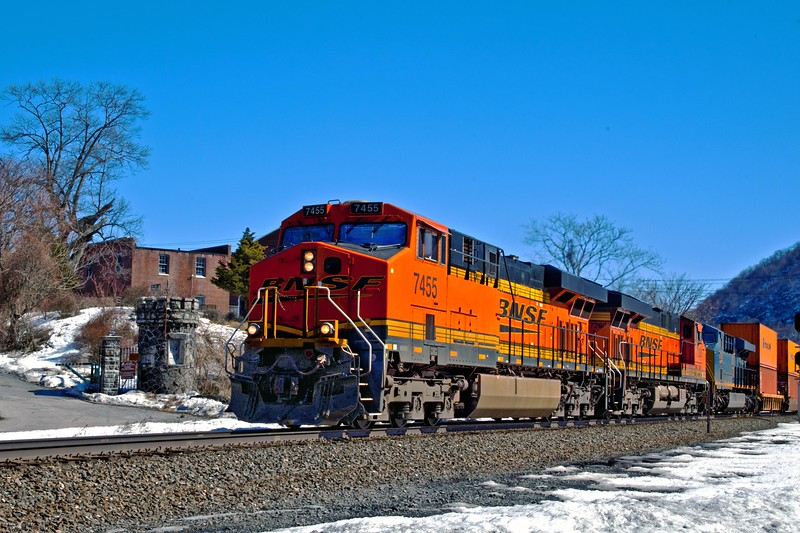 View # 2 BNSF 7455 stacked north bound threw Iona Island, Bear Mt. State Park, Rockland County, N'Y. 10911
