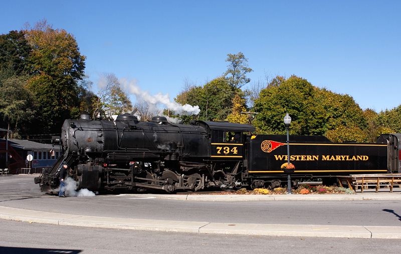 Western Maryland Scenic Railroad number 734 posing for photographs.