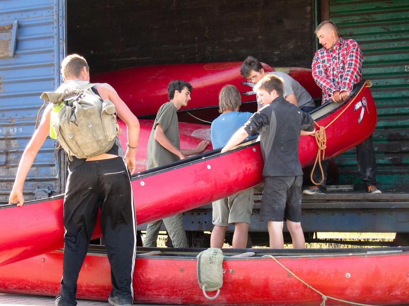 Loading canoes onto the Polar Bear Express