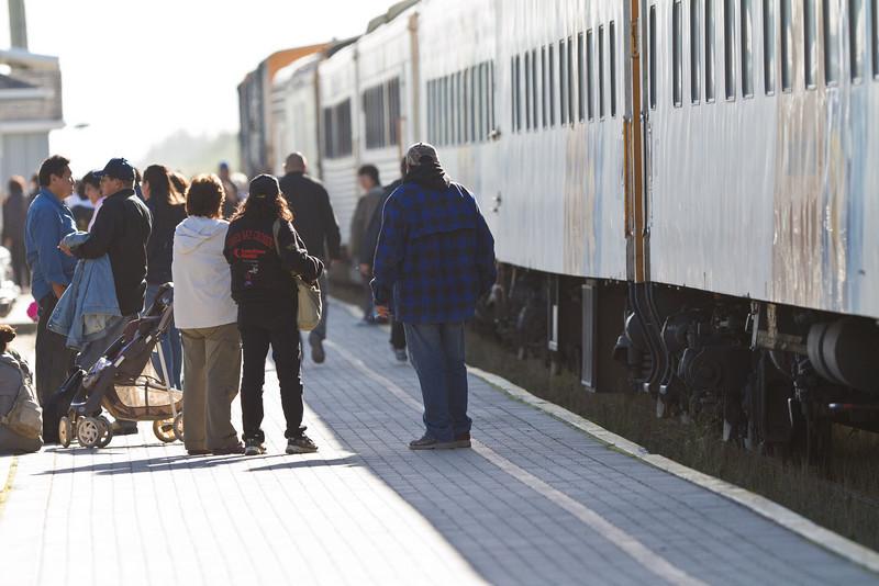 Moosonee station platform just before departure of Polar Bera Express.
