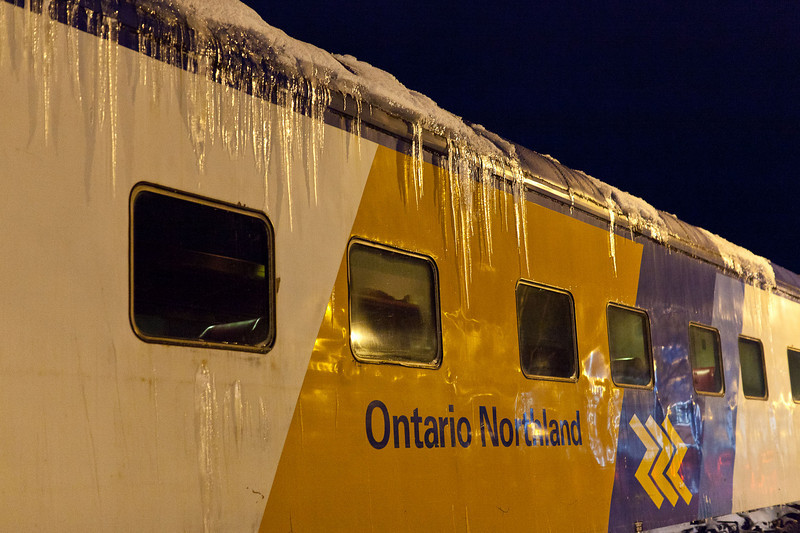 The Polar Bear Express passenger train of the Ontario Northland Railway in Cochrane shortly after arriving from Moosonee.