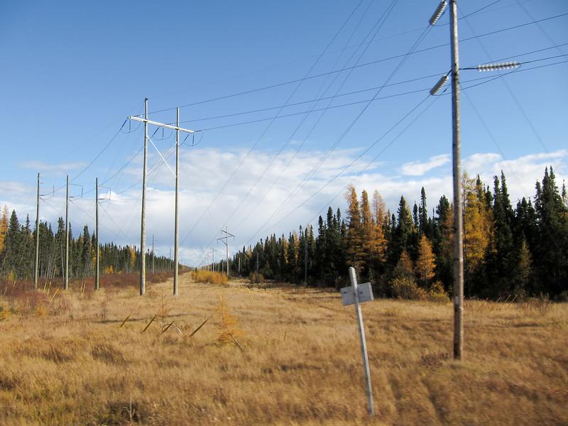 Hydro lines heading to substation south of Moosonee.