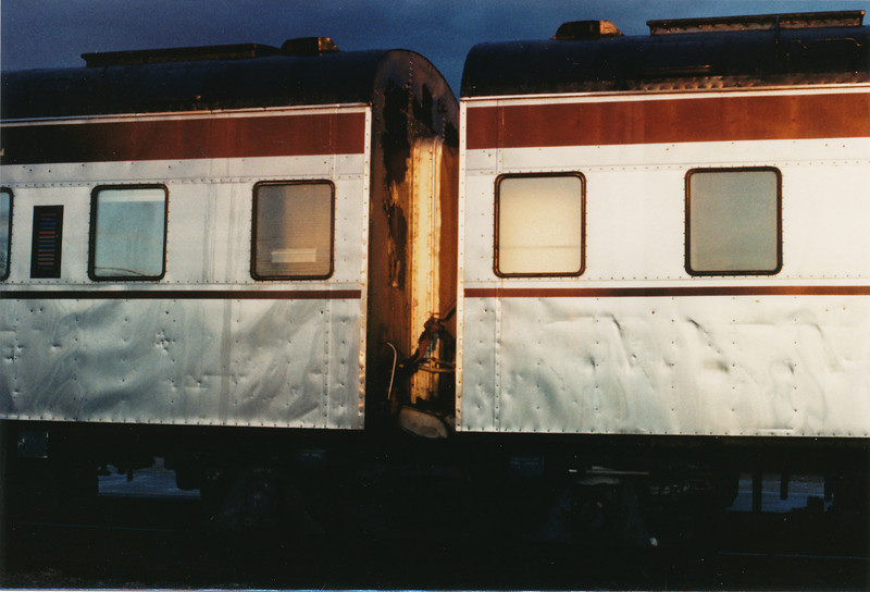 Algoma Central articulated cars in consist of Polar Bear Express at Moosonee, Ontario. 80s