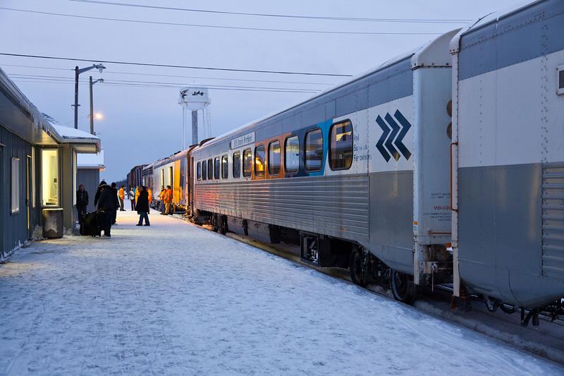 Ontario Northland passenger train the Polar Bear Express shortly before leaving Moosonee for Cochrane 2010 December 20th.