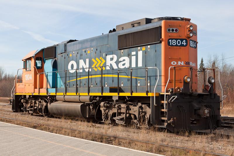 Ontario Northland Railway locomotive GP38-2 1804 at Moosonee on freight duty.