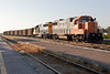 Ontario Northland Railway ballast train with GP38-2 1806 and GP40-2 2202 at Cochrane.