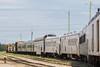 GP38-2s 1802 and 1800 bring the Polar Bear Express into Moosonee.