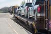 Vehicles headed south on the Polar Bear Express.