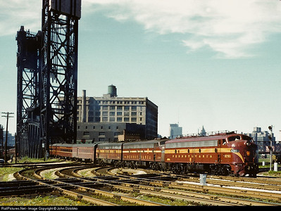 Eastbound General at South Branch lift bridge, 21st St. interlocking, on its way out of Chicago to New York, 6/25/59