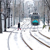 The Green Line in the Snow in Cooledge Corners.