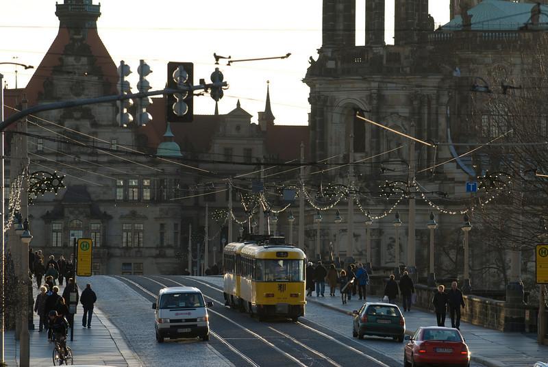 Dresden Trams on the Augustus Bridge.